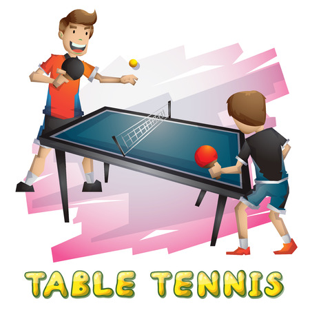 Cartoon vector table tennis  sport with separated layers for game and animation, game design asset Vettoriali
