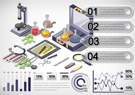 urgencias medicas: illustration of infographic medical concept in isometric graphic Vectores