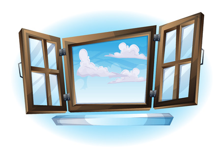 roman blind: cartoon vector illustration window open landscape view with separated layers