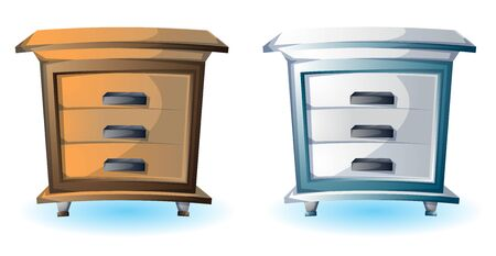 sideboard: cartoon vector illustration interior wood cabinet with separated layers