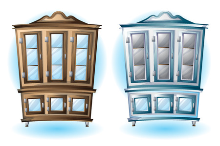 cartoon vector illustration interior wood cabinet with separated layers