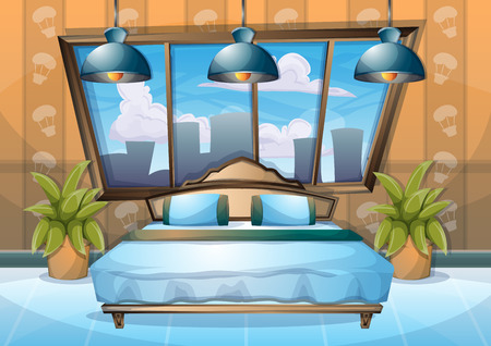 cartoon vector illustration interior bedroom with separated layers
