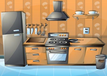 Ilustracji wektorowych kreskówki Kuchnia wewnętrzna z oddzielonymi warstwami