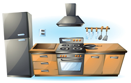 gas cooker: cartoon vector illustration cartoon stove Kitchen objects with separated layers