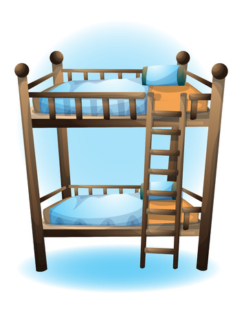 cartoon vector illustration bunk bed object with separated layers Vettoriali