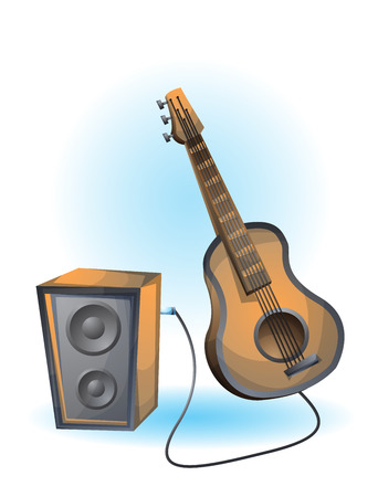 frets: cartoon vector illustration guitar object with separated layers Illustration