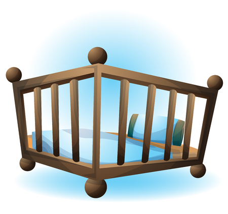 cartoon vector illustration interior bassinet object with separated layers