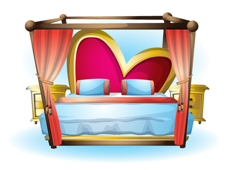 cartoon vector illustration interior Heart bed object with separated layers