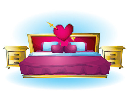 romantic sexy couple: cartoon vector illustration interior Heart bed object with separated layers