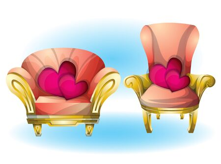 cartoon vector illustration interior Heart chair object with separated layers Illustration