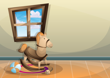 desk toy: cartoon vector illustration interior kid room with separated layers in 2d graphic