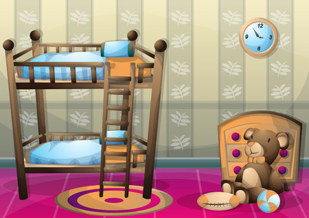furniture transport: cartoon vector illustration interior kid room with separated layers in 2d graphic