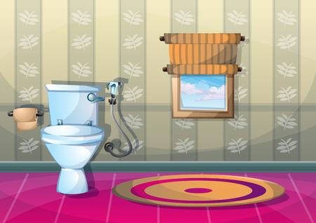 sanitary towel: cartoon vector illustration interior bathroom with separated layers