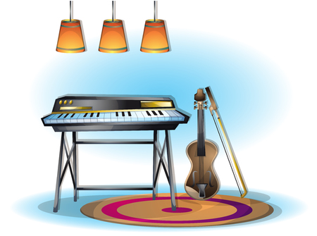 cartoon vector illustration music instruments objects with separated layers in 2d graphic