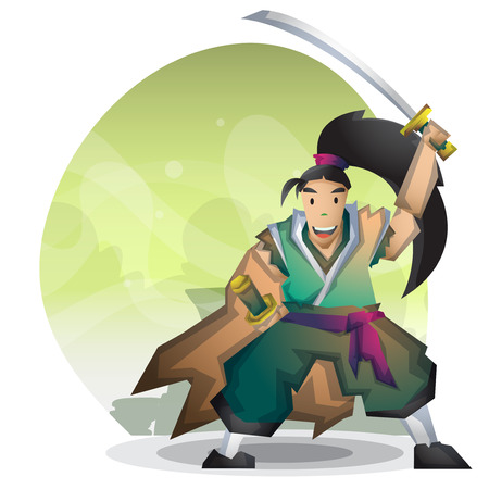 ronin: Cartoon vector samurai with separated layers for game and animation, game design asset