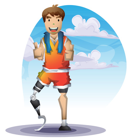 Cartoon vector man with Prostheses leg with separated layers for game and animation, game design asset