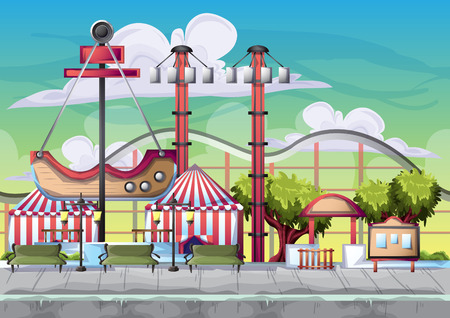 Cartoon vector amusement park with separated layers for game and animation, game design asset