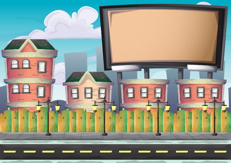 cartoon vector urban billboard with separated layers for game and animation, game design asset