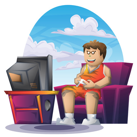 playstation: Cartoon vector fat boy playing game with separated layers for game and animation, game design asset