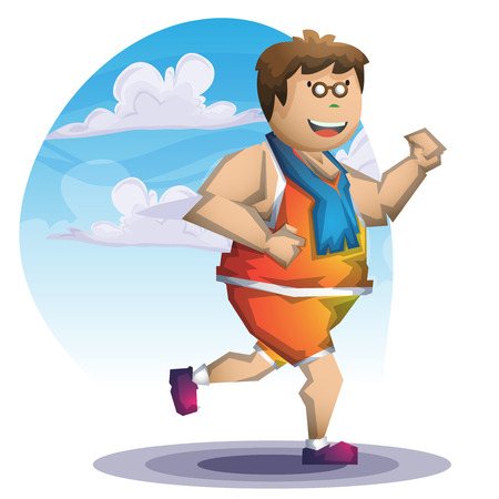 overweight kid: Cartoon vector fat boy run with separated layers for game and animation, game design asset