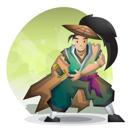 Cartoon vector samurai with separated layers for game and animation, game design asset