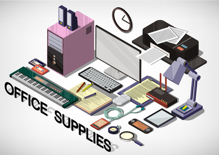 illustration of info graphic interior office concept in isometric graphic Illustration