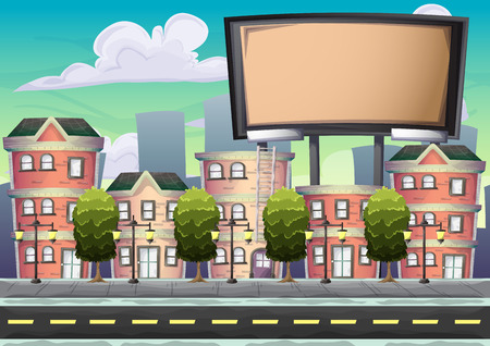 insertion: cartoon vector urban billboard with separated layers for game and animation, game design asset