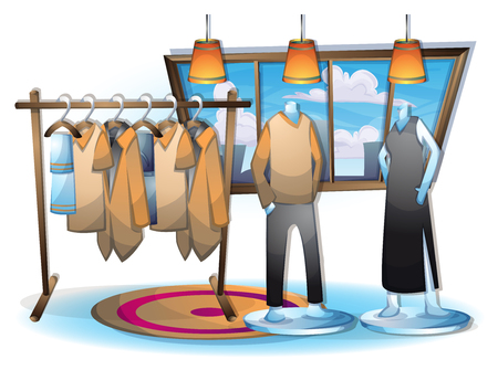 fitting: cartoon vector illustration interior clothing room with separated layers in 2d graphic