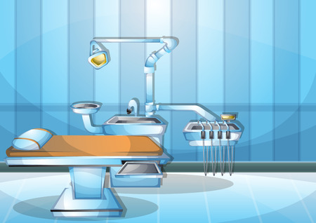 surgeon operating: cartoon vector illustration interior surgery operation room with separated layers in 2d graphic