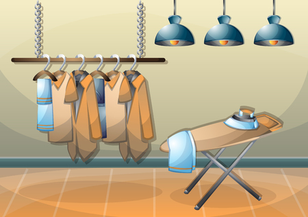 cartoon vector illustration interior clothing room with separated layers in 2d graphic