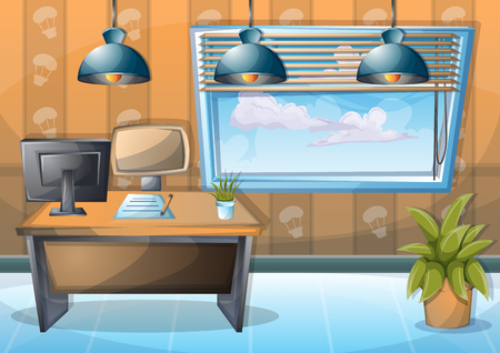 cartoon vector illustration interior office room with separated layers in 2d graphic