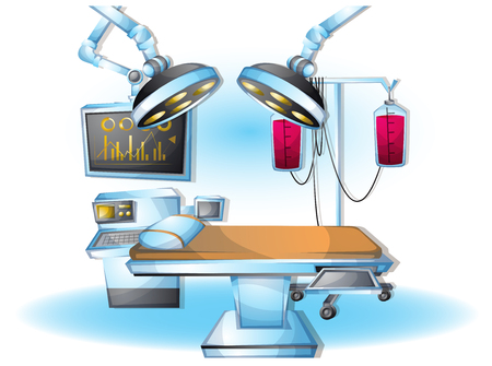operating table: cartoon vector illustration interior surgery operation room with separated layers in 2d graphic