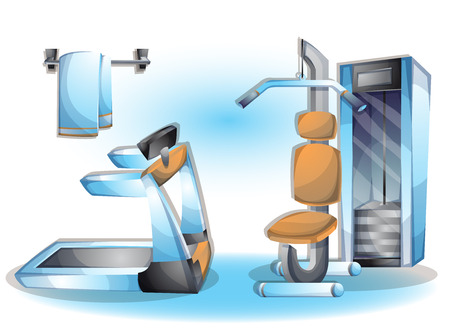 cartoon vector illustration interior fitness room with separated layers in 2d graphic