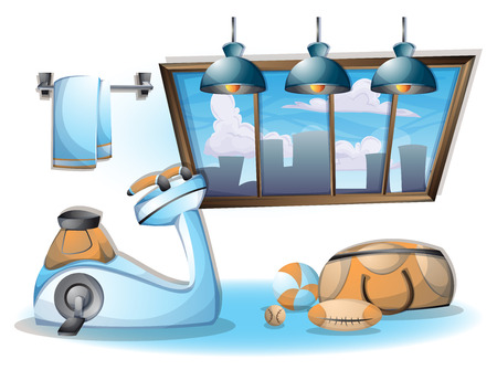 changing room: cartoon vector illustration interior fitness room with separated layers in 2d graphic