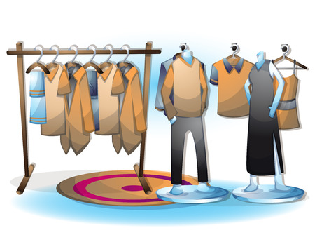 ironing: cartoon vector illustration interior clothing room with separated layers in 2d graphic