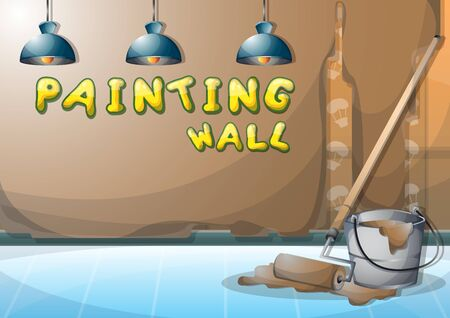 cartoon vector illustration interior painting wall with separated layers in 2d graphic