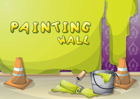 painting on wall: cartoon vector illustration interior painting wall with separated layers in 2d graphic
