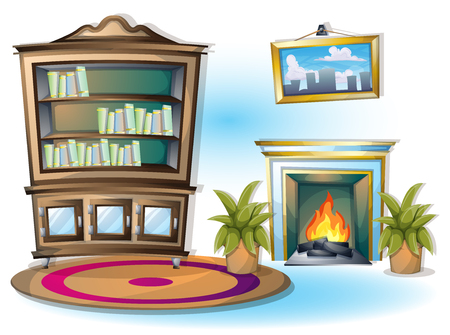 reading books: cartoon vector illustration interior library room with separated layers in 2d graphic