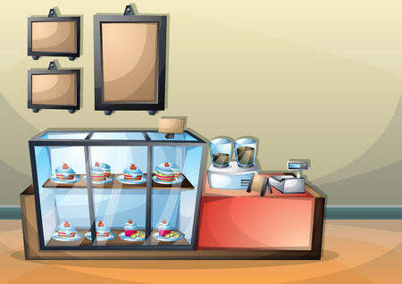 bar scene: cartoon vector illustration interior cafe room with separated layers in 2d graphic Illustration