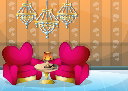 cartoon vector illustration interior valentine room with separated layers in 2d graphic Illustration