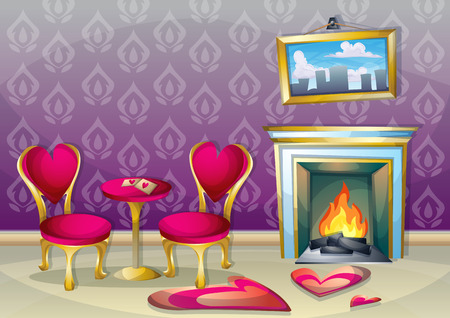 lifestyle dining: cartoon vector illustration interior valentine room with separated layers in 2d graphic Illustration