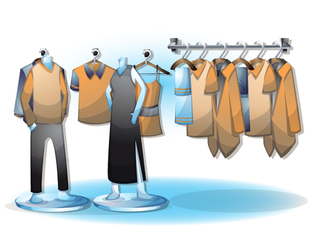 laundry hanger: cartoon vector illustration interior clothing room with separated layers in 2d graphic