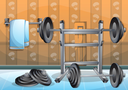 gym room: cartoon vector illustration interior fitness room with separated layers in 2d graphic