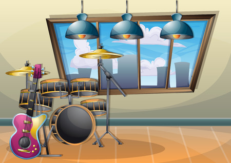 cartoon vector illustration interior music room with separated layers in 2d graphic Vettoriali