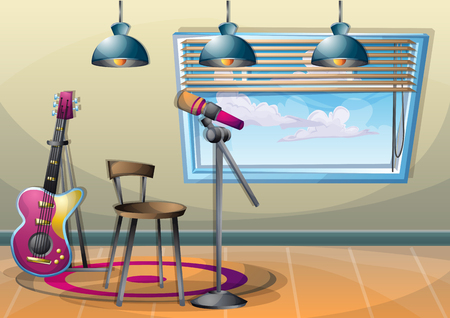 cartoon vector illustration interior music room with separated layers in 2d graphic Illustration