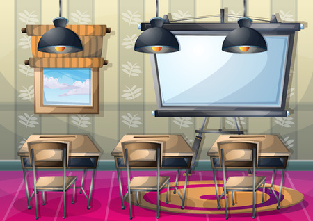 school classroom: cartoon vector illustration interior classroom with separated layers in 2d graphic Illustration