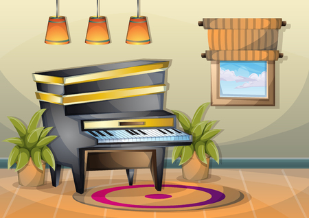 bong: cartoon vector illustration interior music room with separated layers in 2d graphic Illustration