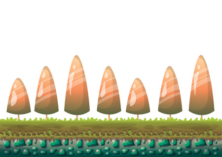 cartoon vector nature landscape background with separated layers for game art and animation game design asset in 2d graphic Illustration