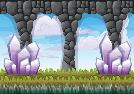 cartoon vector cave with separated layers for game and animation game design asset