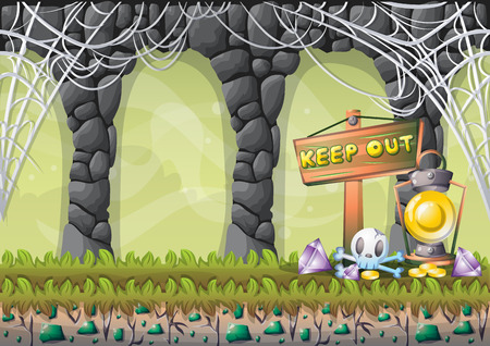 gold mine: cartoon vector cave with separated layers for game and animation game design asset